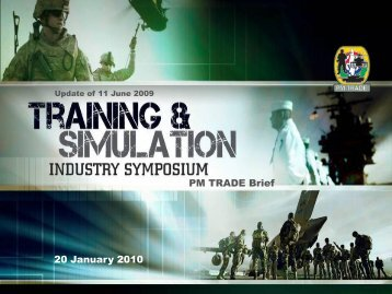 20 January 2010 PM TRADE Brief - PEO STRI - U.S. Army