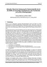 Aktueller Stand der Zulassung für Geokunststoffe durch die BAM ...