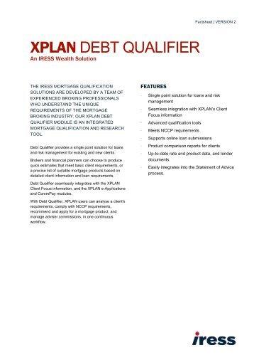 XPLAN Debt Qualifier Factsheet - Iress.co.nz
