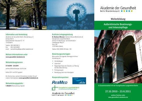 Flyer der Akademie der Gesundheit Berlin / Brandenburg e.V.