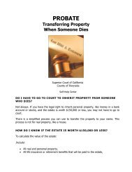 PROBATE -Transferring Property - Superior Court, Riverside