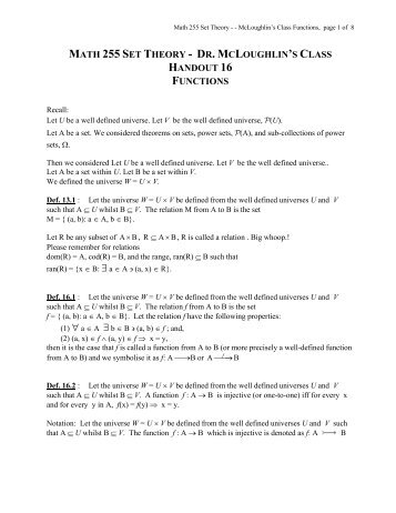 Handout on Functions - Faculty Home Pages