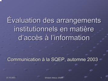 Évaluation des arrangements institutionnels en matière d'accès à l ...