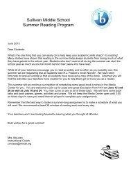 6th Grade Reading Assignment - Sullivan Middle School