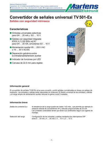 TV501Ex-00- Prospekt - Martens Elektronik GmbH
