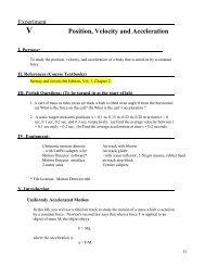 V Position, Velocity and Acceleration