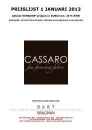 CASSARO prijslijst 2013 - Bart Brugman