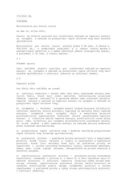 Vyhláška č. 372/2001 Sb. o rozúčtování nákladů na tepelnou energii ...