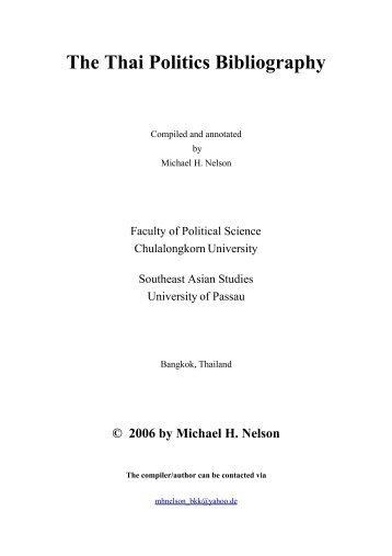 The Thai Politics Bibliography - Universität Passau