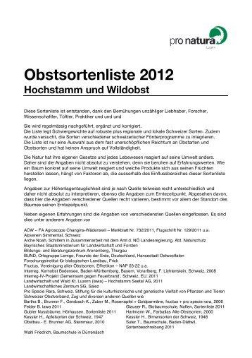 Obstsortenliste 2012 - Pro Natura Luzern