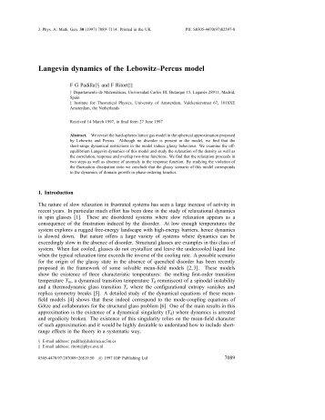 Langevin dynamics of the Lebowitz–Percus model