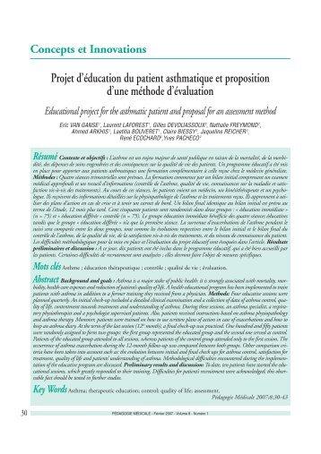 Projet d'éducation du patient asthmatique… - Ipcem