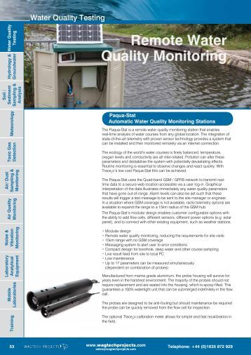 Remote Water Quality Monitoring - Wagtech Projects Ltd