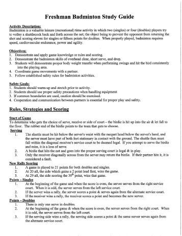 tennis and badminton study guide Badminton study guide pdf badminton study guide pdf badminton study guide pdf download direct download proper distance from net is 1 arm, 1 racket and 1 step.