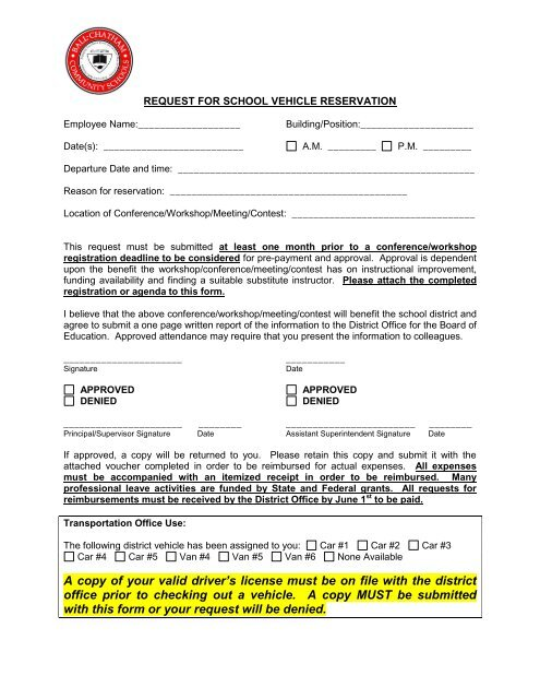 Request for Professional Leave - Vehicle Request