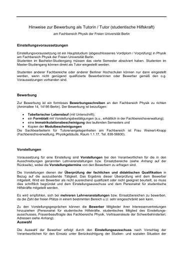 Hinweise zur Bewerbung - Fachbereich Physik - Freie Universität ...