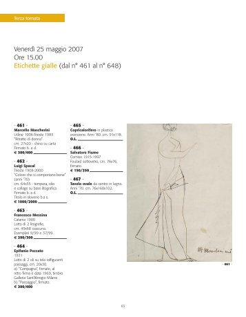 Venerdì 25 maggio 2007 Ore 15.00 Etichette gialle (dal n° 461 al n ...