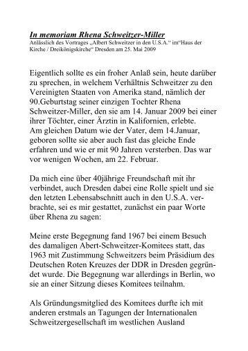 In den USARhena - Albert-Schweitzer-Freundeskreis Dresden