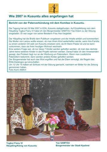 Überreichung der Patenurkunden - Togo-Kinder Zukunftschance eV