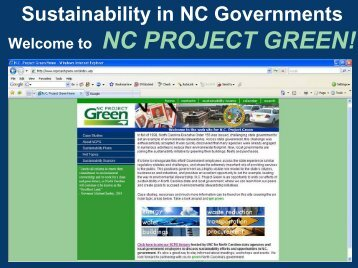 Sustainability in NC Governments - NC Project Green