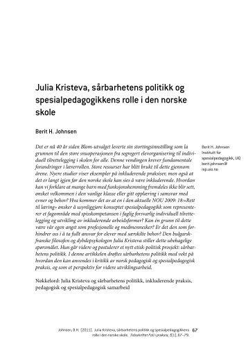 Julia Kristeva, sårbarhetens politikk og spesialpedagogikkens rolle i ...