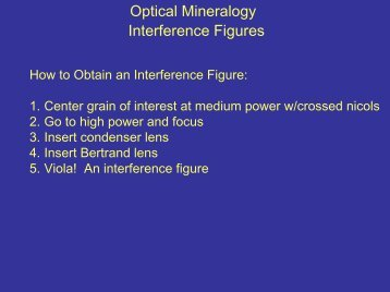 Optical Mineralogy Interference Figures - Faculty web pages