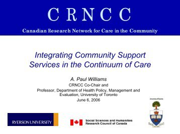 Integrating Community Support Services in the Continuum of ... - crncc