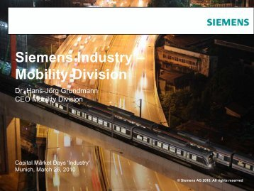 Siemens Industry – Mobility Division