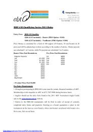 BREAM Qualifying Series 2011 Rules