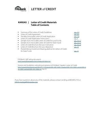 Letter of credit application fpl kansas letter of credit materials table of fhlbank topeka altavistaventures Image collections