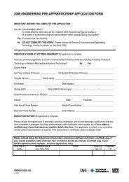 2009 engineering pre-apprenticeship application form - TLS