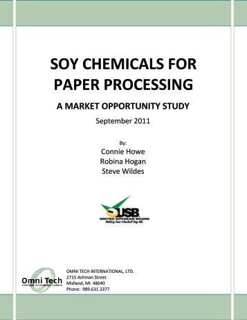 SOY CHEMICALS FOR PAPER PROCESSING - Soy New Uses
