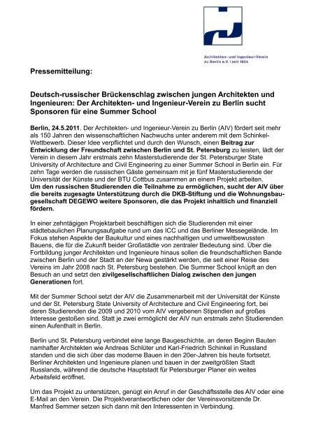 PM - Architekten- und Ingenieur-Verein zu Berlin eV