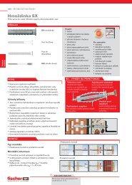 Hmoždinka SX - Fischer - upevňovací systémy