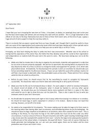 Junior and First Year Settling In Letter - Trinity School