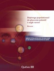 Dépistage populationnel du glaucome primitif à angle ouvert - INESSS