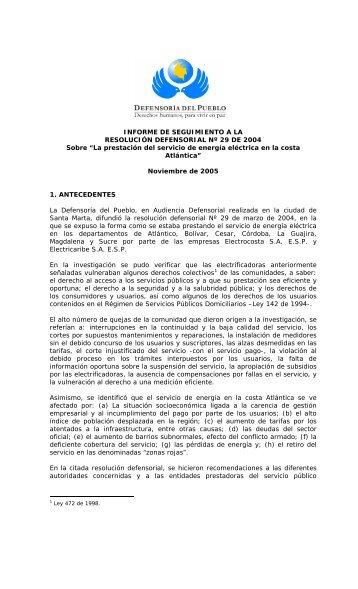 INFORME DE SEGUIMIENTO - Defensoría del Pueblo