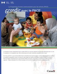 Grandir avec le PACE - Agence de la sante publique du Canada