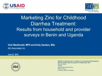 Overview of Benin and Uganda Provider Survey ... - SHOPS project