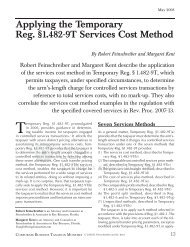 Applying the Temporary Reg. §1.482-9T Services Cost Method - CCH