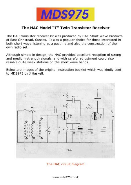 """The HAC Model """"T"""" Twin Transistor Receiver - MDS975 co uk"""