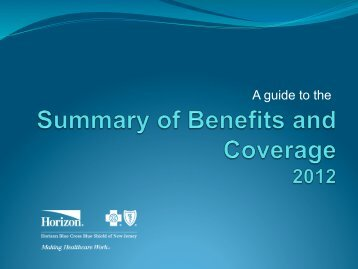 SBC Guide 2012 - Horizon Blue Cross Blue Shield of New Jersey