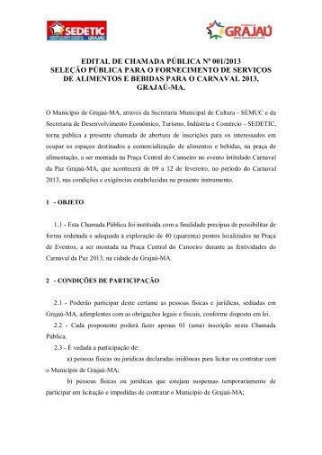 edital de chamada pública nº 001/2013 seleção ... - Grajaú de Fato
