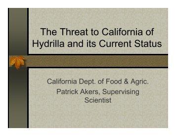 HydrillaThreat&StatusInCA-Florence Maly - Mariposa County
