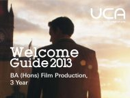 Welcome Guide: BA (Hons) Film Production