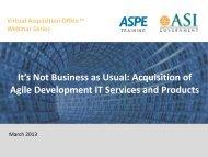 Acquisition for Agile Development - ASPE