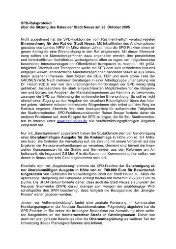 SPD-Ratsprotokoll über die Sitzung des Rates der Stadt Neuss am ...