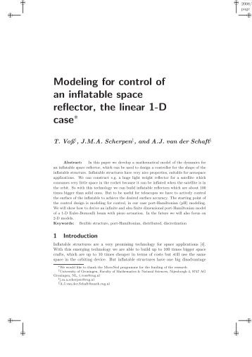 Modeling for control of an inflatable space reflector, the linear 1 ... - ITM