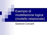 Esempio di modellazione logica (modello relazionale)
