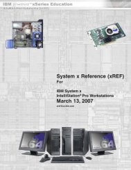 System x Reference (xREF) March 13, 2007 - IBM Quicklinks